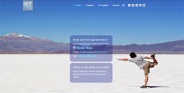 Hot Yoga  with Harry - Web Design by netJoy